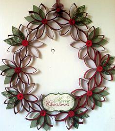 Toilet roll Christmas wreath