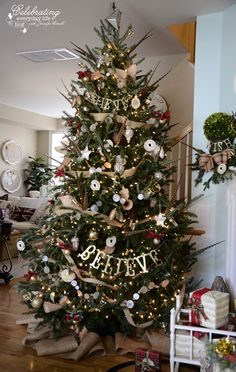 Ralph Lauren Inspired Christmas Tree: Plaid Christmas Tree Decorations, Burlap Decorations, Believe, Pheasant Feather Christmas Tree, Capiz Shell Garland, Burlap Ribbon Garland, Vintage French Sheet Music Cones, mini trophy ornament, silhouette ornament