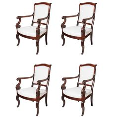 A Fine Set of 4 Carved Mahogany Charles X Armchairs