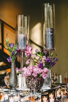 Geo and Jay, Beacon, New York Wedding, Floral Centerpieces with Candles