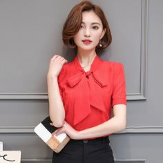 8bfca271c 2017 summer New Arrival girl bow tie V-neck wild Sexy Red chiffon shirt  Blouse