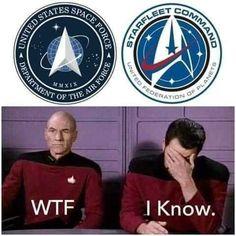 Trump reveals Space Force logo, and 'Star Trek' fans aren't happy Funny Photos Of People, Funny Pictures, Trekking Quotes, Star Trek Logo, Science Fiction, Tired Funny, Star Trek Characters, Star Trek Starships, Star Trek Universe