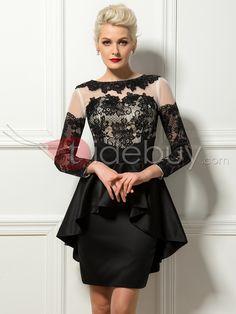 Gorgeous Sheath Lace Bateau Neck Ruffles Short Cocktail Dress $129.99 Peque?os Vestidos Negros
