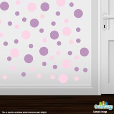 Baby Pink / Lilac Polka Dot Circles Wall Decals #stickers #decalvenue #decals