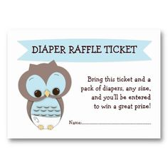 Blue Owl Baby Shower Diaper Raffle Ticket Insert Business Card Template