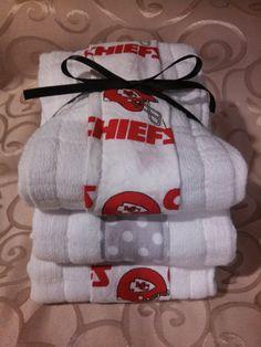 3 Pack Kansas City Chiefs Baby Burp Cloths by RachelSewCrazy, $13.00