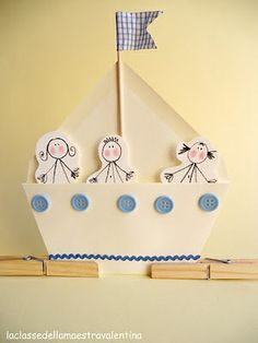 """Attendance Boats: Paper boats for """"Sailing through VBS"""" board. Like the idea of the little person inside. They can see themselves """"sailing"""" through each evening. Where they've been and what they will be learning about that evening. Sea Crafts, Bible Crafts, Diy And Crafts, Crafts For Kids, Arts And Crafts, Paper Crafts, Art Plastic, Party Fiesta, Nautical Party"""