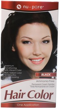 Nu-Pore Hair Color, Black  Nu-Pore Hair Color uses an ammonia free permanent cream to provide maximum conditioning with vibrant color. Use Nu-Pore for rich, radiant, long lasting color and beautiful healthy looking hair.