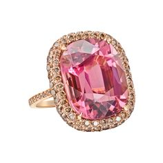 Paolo Costagli Pink Tourmaline & Cognac Diamond Cocktail Ring - Large cushion-shaped, color-change pink tourmaline cocktail ring in 18k rose gold with pavé cognac diamond surround and basket. The pink tourmaline weighing 19.90 carats and cognac diamonds weighing 2.10 total carats. Designed by Paolo Costagli. Ref #: CRPT00364     12.03.14