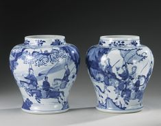 PAIR OF BLUE AND WHITE 'WOMEN WARRIORS' JARS, QING DYNASTY, KANGXI PERIOD