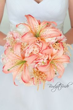 Davids Bridal Bellini Peach and Blush pink wedding bouquet with peonies and silk lily