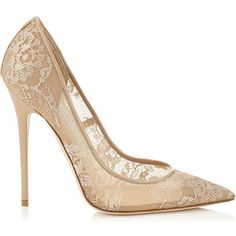 Jimmy Choo Nude Anouk Lace Pointy Toe Pumps as seen on Kate Mara