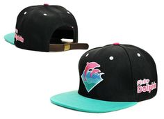 Pink Dolphin Waves Snap Back Hat Strapback Authentic Blk/Green [pink dolphin - 08] - $8.00 : caooop.com