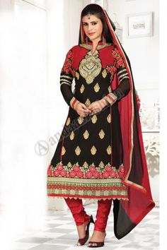 of dupatta maroon and black georgette heavy floral embroidered shalwar kameez with matching churidar bottom Image Pakistani Dresses Shalwar Kameez, Salwar Kurta, Churidar Suits, Salwar Kameez Online, Suit Pattern, Suit Fabric, Indian Attire, Types Of Dresses, Casual Party