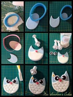 How To Make Owl Cookies - Cake Decorating Cupcake Ideen Fondant Toppers, Fondant Cakes, Cupcake Toppers, Cake Fondant, Marshmallow Fondant, Cake Decorating Techniques, Cake Decorating Tutorials, Cookie Decorating, Owl Cupcakes