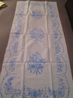 Hungarian Kalocsa Stamped Runner for Hand Embroidery Rich Floral Design 33x14 #KalocsaHungary