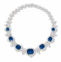A SAPPHIRE AND DIAMOND NECKLACE    The front set with seven graduated cushion-shaped sapphires each within a pear-shaped, marquise and brilliant-cut diamond surround spaced by graduated pear-shaped and brilliant-cut diamond foliate clusters to the similarily-set backchain, mounted in white gold, 43.0 cm long