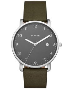 The rich green leather strap of this Hagen watch by Skagen is enhanced by its dark gunmetal dial. | Green leather strap | Round stainless steel case, 40mm | Gunmetal dial with silver-tone numerals, th