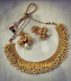 Excited to share this item from my shop: Gold pearl indian necklace choker long earrings women wedding ethnic jewelry Bollywood jewellery sets Indian Jewelry Sets, Silver Jewellery Indian, Indian Wedding Jewelry, Gold Jewellery Design, Bridal Jewelry, Beaded Jewelry, Ethnic Jewelry, Silver Jewelry, Handmade Jewellery