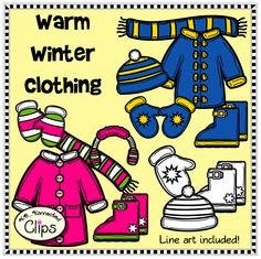 Warm Winter Clothing for Kids $ http://www.teacherspayteachers.com/Product/Clip-Art-Warm-Winter-Clothing-for-Kids-1600354
