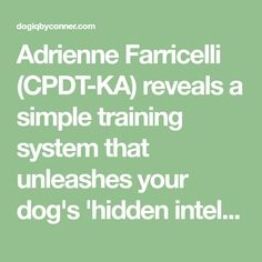 Adrienne Farricelli (CPDT-KA) reveals a simple training system that unleashes your dog's 'hidden intelligence' to eliminate bad behaviors and dramatically boost obedience.