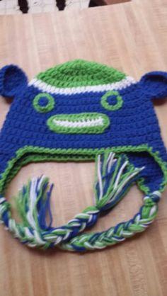 Seahawk sock monkey hat