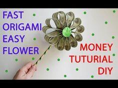 Quick Money Flower Origami Dollar Folded Tutorial DIY Decoration - YouTube