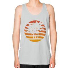 Palm Trees Grunge Sunset Unisex Fine Jersey Tank (on man) Shirt