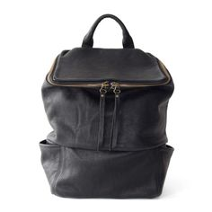 Black Leather Square Backpack | DAPHNY RAES