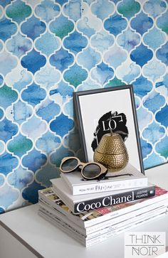 For backsplash? 20% OFF Watercolour Moroccan Temporary by ThinkNoirWallpaper