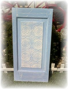 Beachy Blue Shabby Cottage Upcycled Vintage Door Panel Wall Art