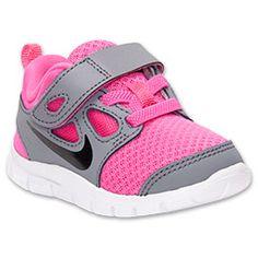 Girls' Toddler Nike Free Run 5 Running Shoes| FinishLine.com | Cool Grey/Pink Foil/White/Black