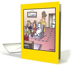 Dog with Toilet Straw Humor Birthday Card