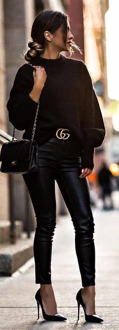 #spring #outfits black sweater and leather pants. Pic by @high_5_to_fashion