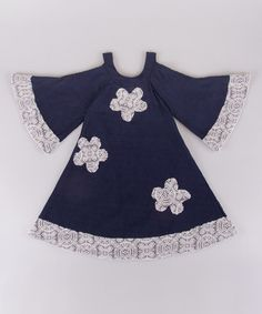 Love this Navy & White Floral Bell-Sleeve Dress - Toddler & Girls by Mia Belle Baby on #zulily! #zulilyfinds