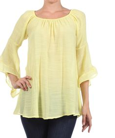 Another great find on #zulily! J-Mode USA Los Angeles Yellow Flare-Sleeve Off-Shoulder Top - Women by J-Mode USA Los Angeles #zulilyfinds