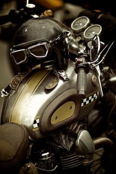 vintage Triumph tank bars helmet goggles