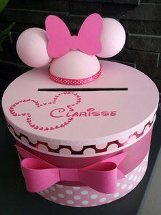 création d'urne original et personnalisable mariage , baptême, communion, anniversaire ( ici thème Minnie )