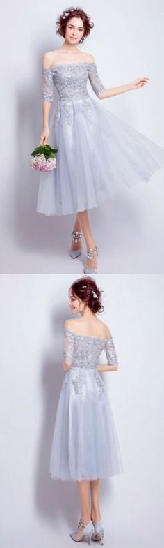 Romantic A-line Off-the-shoulder Tea-length Tulle Formal Dress Homecoming Dress Prom Dress With Lace
