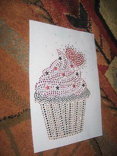 Cupcake Rhinestone Iron on Transfer by cthorses66 on Etsy, $8.00