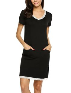 41ba699f19 Women Sleep Shirt V-Neck Nightgown Short Sleeve Sleep Dress Lace-Trim  Sleepwear S