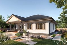 Lucia DCB88 - zdjęcie 2 Bungalow Porch, Bungalow House Design, Design Case, Home Fashion, House Plans, Sweet Home, Exterior, Mansions, House Styles
