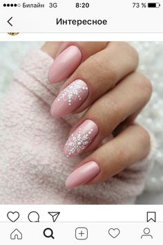 Pin by venus brucelez on nails in 2019 Christmas Gel Nails, Holiday Nails, Rose Nails, Pink Nails, Gorgeous Nails, Pretty Nails, Nagellack Design, Simple Acrylic Nails, Nagel Gel