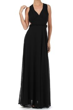 Black High Quality Silky Smooth Full Length Semi Sheer Dress With Subtle Pleating A V-neckline(FREE SHIPPING)