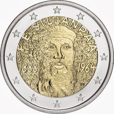 Finnish commemorative 2 euro coins 2013, 125th Anniversary of the Birth of Nobel Prize winning Author Frans Eemil Sillanpää  Commemorative 2 euro coins from Finland