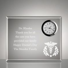 Present A Wonderful Gift Of Thanks Appreciation Or Recognition With Our Personalized Keepsake Clock Plaque
