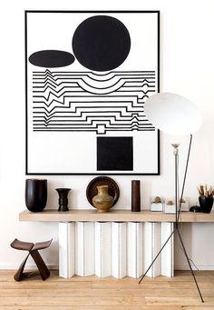 bold graphic monochrome art, minimal interior, shelf, vases /