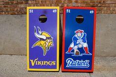 Minnesota Vikings and New England Patriots Custom Cornhole set