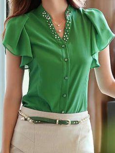 v-neck beaded blouse