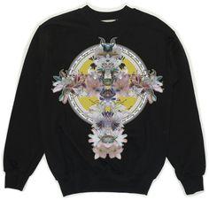 Black Sweatshirt With Cross Print via KOLYA KOTOV.